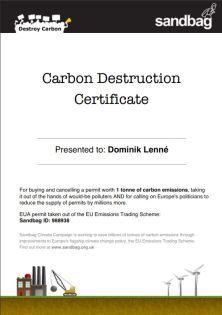 carbon destruction certificate
